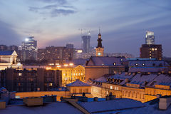 Warsaw Cityscape at Twilight Royalty Free Stock Image
