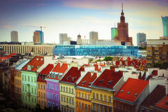 Warsaw colorful panorama. Royalty Free Stock Image