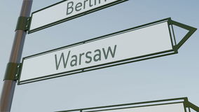 Warsaw direction sign on road signpost with European cities captions. Conceptual 3D rendering. Warsaw direction sign on road signpost with European cities Royalty Free Stock Photography