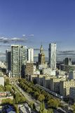 Warsaw downtown aerial view Stock Images