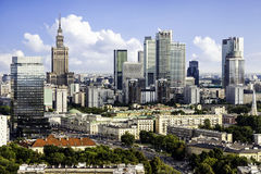 Warsaw downtown. Warsaw business district. Aerial View stock images