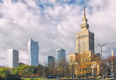 Warsaw downtown district skyscrapers. Stock Image