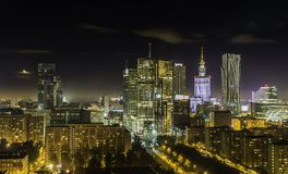 Warsaw downtown at night royalty free stock image