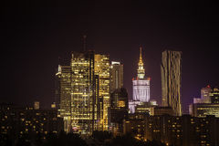 Warsaw downtown at night Royalty Free Stock Photography