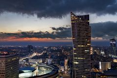 Warsaw downtown during the night, Poland. Panorama of Warsaw downtown during the night, Poland Royalty Free Stock Photo