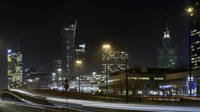 Warsaw downtown during the night time lapse stock video