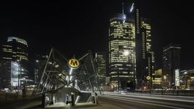 Warsaw downtown during the night time lapse stock footage