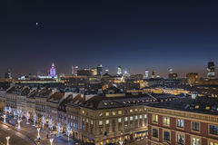 Warsaw downtown during the night Royalty Free Stock Images