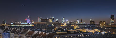 Warsaw downtown panorama during the night Stock Images