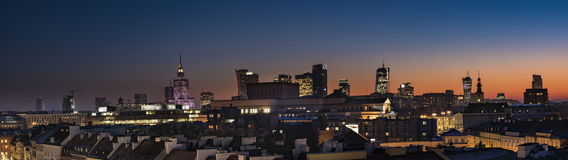 Warsaw downtown panorama at sunset Stock Images
