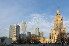 Warsaw downtown skyscraper with palace of Culture Royalty Free Stock Image