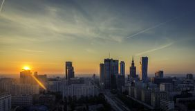 Warsaw downtown sunrise aerial view Stock Photos
