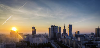 Warsaw Downtown sunrise aerial view Stock Images