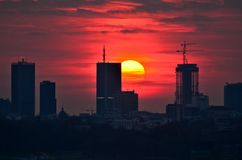 Warsaw Downtown sunset Stock Images