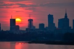 Warsaw Downtown sunset Royalty Free Stock Image