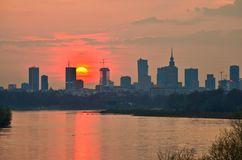 Warsaw Downtown sunset Stock Photos