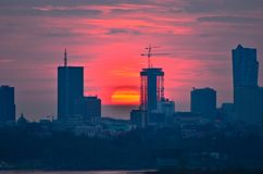 Warsaw Downtown sunset Stock Image