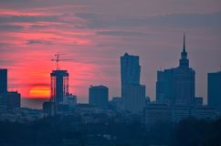 Warsaw Downtown sunset Royalty Free Stock Photography