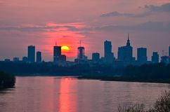 Warsaw Downtown sunset Royalty Free Stock Images