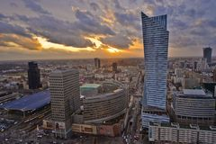 Warsaw downtown view Royalty Free Stock Photo