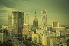 Warsaw financial center in late  afternoon Royalty Free Stock Images