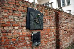 Warsaw fragment of the ghetto wall preserved at Sienna street Royalty Free Stock Images