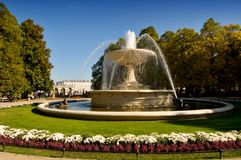 Warsaw garden and fountain - Stock Photos
