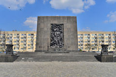 Warsaw Ghetto Monument. Warsaw monument in memory of and fighters of Jewish ghetto, who died during fights against German occupants in 1943 Royalty Free Stock Images