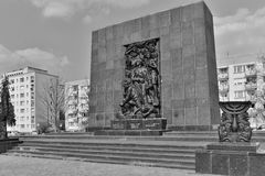 Warsaw Ghetto Monument. Warsaw monument in memory of and fighters of Jewish ghetto, who died during fights against German occupants in 1943. Angle view Stock Photo
