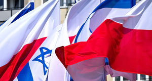 Flags of Poland and Israel Stock Images