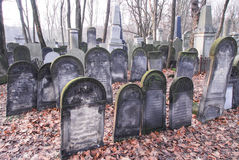 Warsaw Jewish Cemetery. Old graves at historic Jewish cemetery, Okopowa Street in Warsaw, Poland Stock Photo