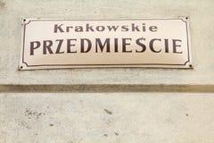 Warsaw - Krakowskie Przedmiescie Stock Photo