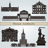 Warsaw landmarks and monuments. On blue background in editable vector file Royalty Free Stock Photo