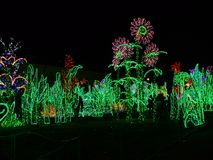 Wilanow Royal palace Warsaw winter decorations. Warsaw light garden in Wilanow Royal Palace. Winter decoration. Wonderland garden .Poland Royalty Free Stock Photo