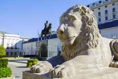Warsaw, Lion in front of the Presidential Palace Royalty Free Stock Photos