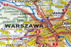Warsaw on the map Royalty Free Stock Photo