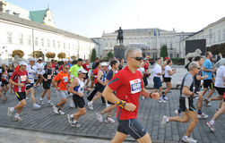 Warsaw Marathon. Runners participating in the 31st Warsaw Marathon Royalty Free Stock Images