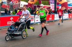 Warsaw Marathon 2015. Poland, Warsaw, April 26th, 2015: Runners at the ORLEN Warsaw Marathon stock photos