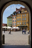 WARSAW - MAY 8: Castle Square as seen from king's palace filled Stock Photos