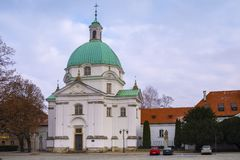 Warsaw, Poland - Monastery of Benedictine Nuns of Perpetual Adoration at the New Town Market Square in the historic old town. Warsaw, Mazovia / Poland - 2018/12/ stock photos