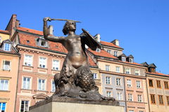 Warsaw Mermaid. The mermaid - Syrena - is the symbol of the city of Warsaw (Poland). This statue is located in the center of the Market Square Stock Photography