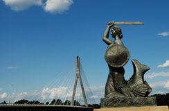Warsaw mermaid. On the bank of Vistula river in capital of Poland Royalty Free Stock Photography