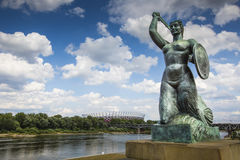 The Warsaw Mermaid called Syrenka on the Vistula River bank in W Royalty Free Stock Image