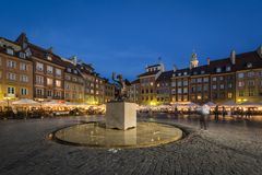 Warsaw mermaid monument on the Old City Square Stock Image