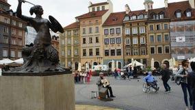 Warsaw Mermaid Statue. The Mermaid Statue In Warsaw stock photo