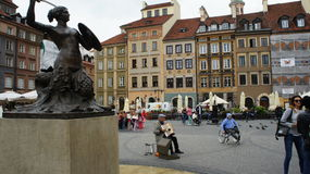 Warsaw Mermaid Statue. The Mermaid Statue In Warsaw royalty free stock images
