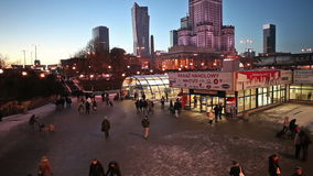 Warsaw Metro Station Centrum. WARSAW, POLAND - CIRCA DECEMBER 2014: People at main metro station Centrum of Line 1 at night and shopping arcade, Warsaw city stock video footage
