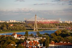 Warsaw National Stadium at autumn time Royalty Free Stock Photography