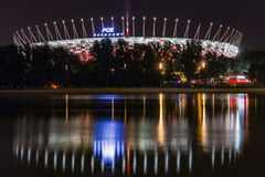 Warsaw National Stadium during the night. Stock Images