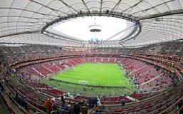 Warsaw National Stadium (Stadion Narodowy). WARSAW, POLAND - MAY 27, 2015: Panoramic view of Warsaw National Stadium (Stadion Narodowy) before UEFA Europa League Royalty Free Stock Images